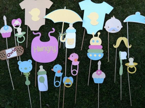Photo booth props  unisex baby shower por flutterbugfrenzy en Etsy, $35,75