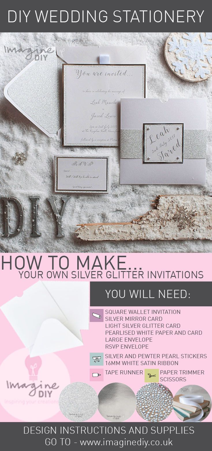232 best wedding stationery designs images on pinterest cards diy silver glitter invitations for a winter wonderland wedding theme junglespirit Images