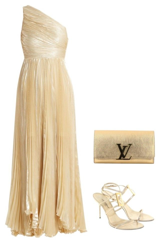 """gold"" by slavka-cesnek on Polyvore featuring Maria Lucia Hohan, Louis Vuitton and Dolce&Gabbana"