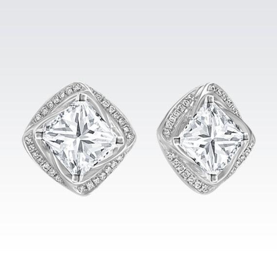 Square Round Diamond Earring Jackets Fine Jewelrywhite Golddiamond Solitaire Earringsstoneprincess Cut