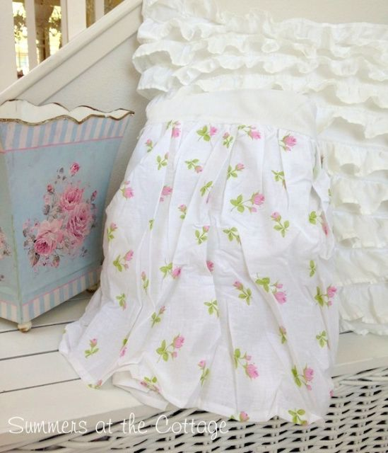 PINK ROSEBUDS ROSES ON WHITE COTTAGE CHIC BEDSKIRT DUST RUFFLE