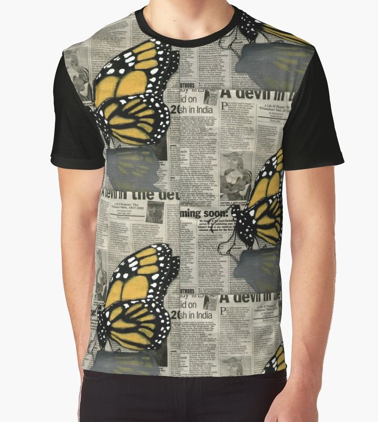 Butterfly on my Newspaper Graphic Tee --- $30    #butterfly #tee