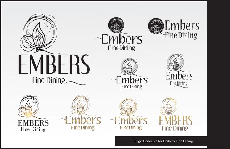 Logo Designs for Embers Fine Dining by Kathy Morton Stanion