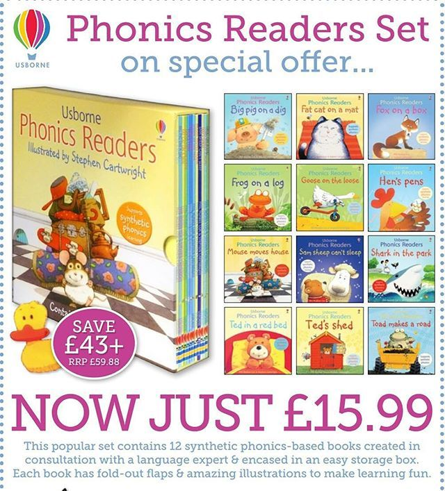 Enjoy 12 Phonics Readers books for just £15.99  This very popular set includes 12 synthetic phonics-based books, created in consultation with a language expert and encased in a sturdy storage box.  Titles include Frog on a Log, Toad Makes a Road, Fat Cat on a Mat, Ted's Shed, Sam Sheep Can't Sleep, Mouse Moves House, Shark in the Park, Fox on a Box, Hen's Pens, Goose on the Loose, Big Pig on a Dig and Ted in a Red Bed. Each story includes fold-out flaps and classic Stephen Cartwright…