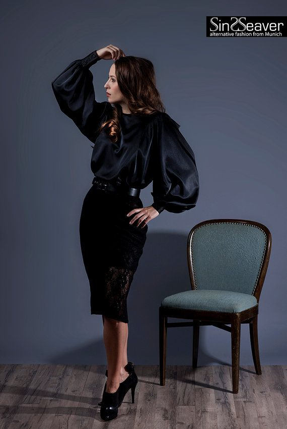 Flowing blouse with Carmensleeves Couture by SinWeaverFashion
