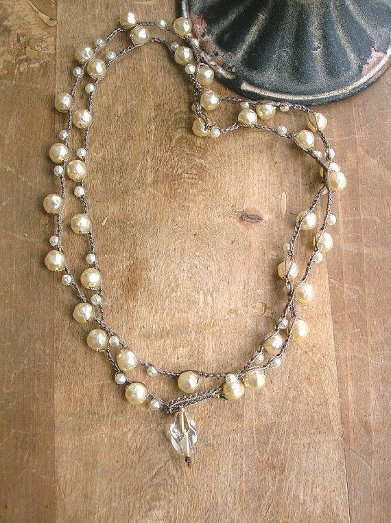 Pearl wrap necklace  Gigi  crochet necklace Boho by 3DivasStudio, $49.00