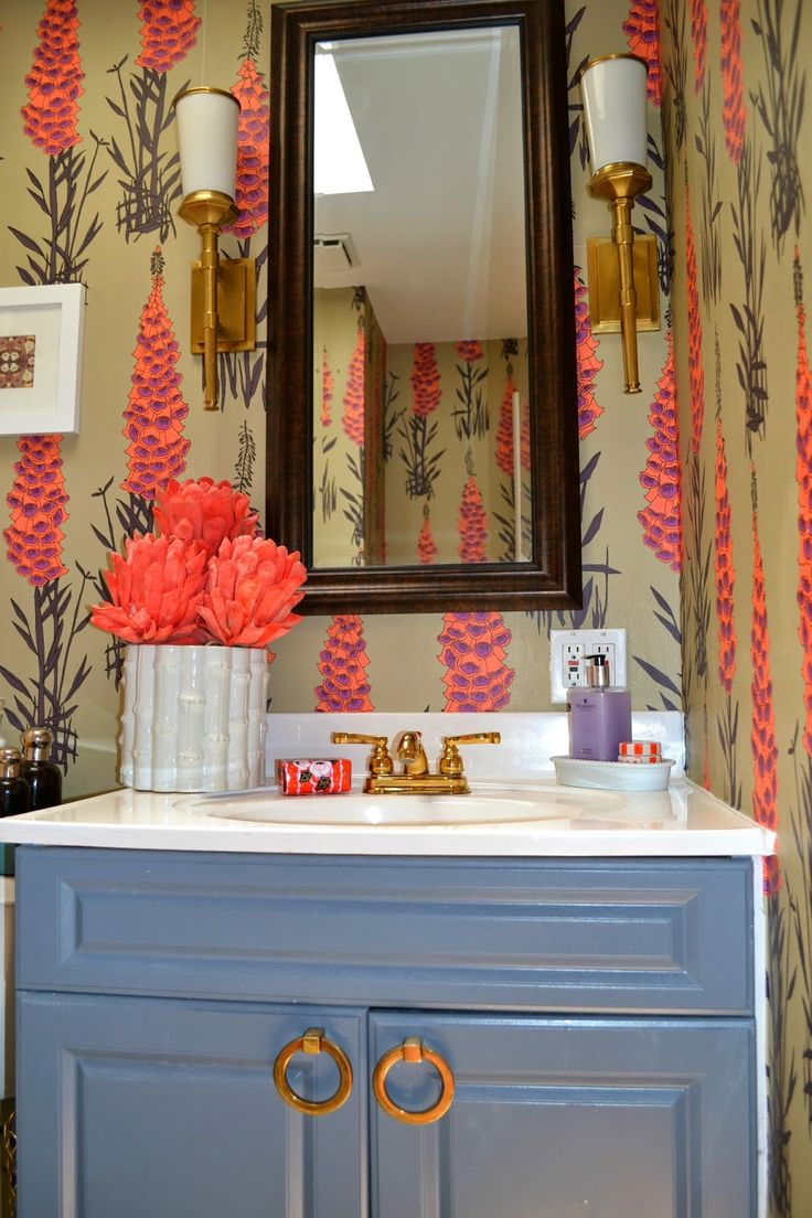 Sadie Stella House Reveal The Bathroom Osborne And Little Hot House Flowers Bold Wallpaper In A Small Bathroom