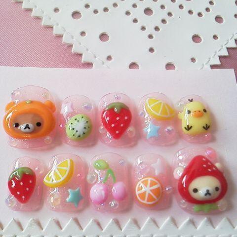 japanese 3d nails fruity rilakkuma made fake nails