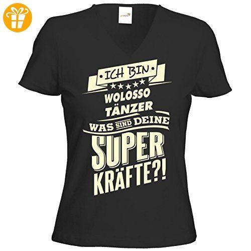 getshirts - RAHMENLOS® Geschenke - T-Shirt Damen V-Neck - Superkräfte - Wolosso tanzen - schwarz XS (*Partner-Link)