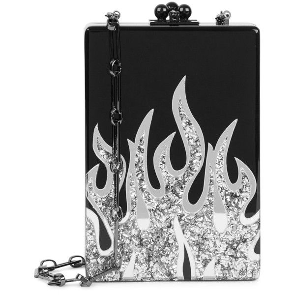 Edie Parker Carol Flames Black Box Clutch ($1,810) ❤ liked on Polyvore featuring bags, handbags, clutches, accessories, black, purses, hand bags, edie parker, clasp handbag and hard clutch