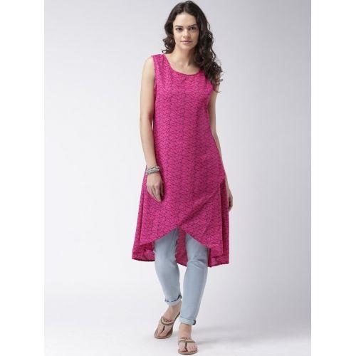 Moda Rapido Women Pink & Navy Printed Tulip Kurta