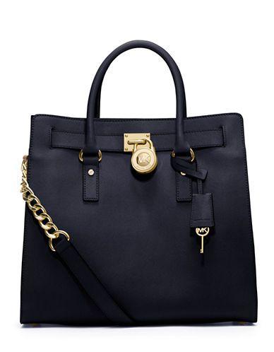 8008935b81b9 ... Michael Michael Kors Hamilton Large Leather Tote Bag Navy ...