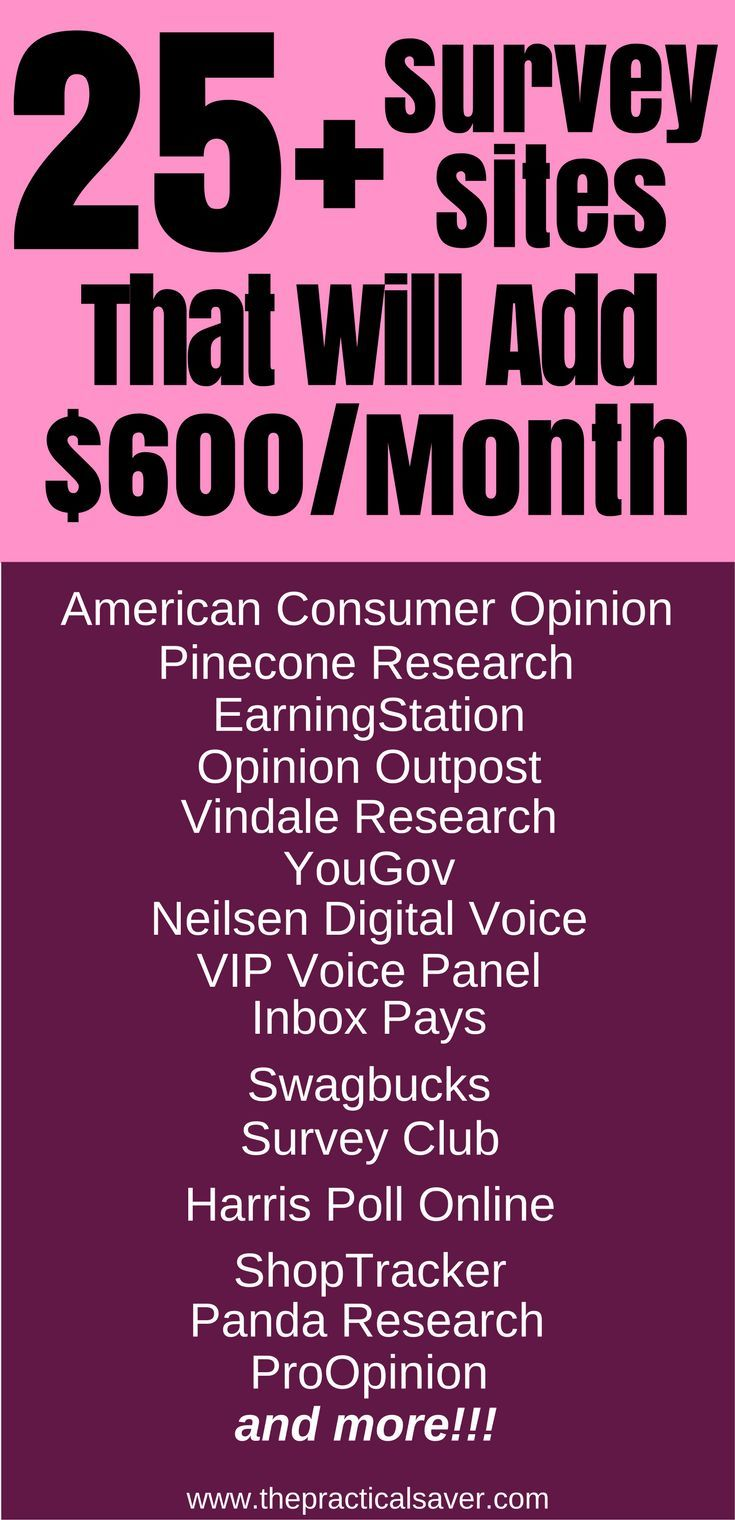25 Online Survey Sites To Add 600 Month Or More Updated Make Money At Homemake