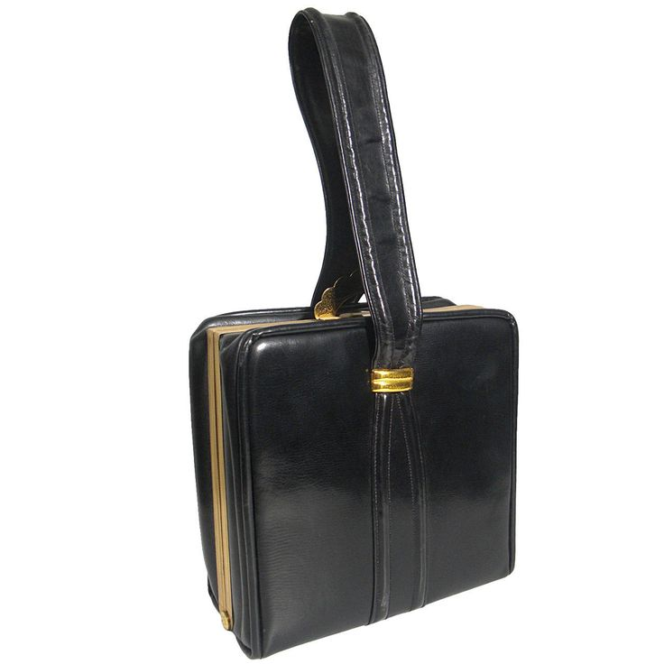 1950s Evans Black Leather Evening Bag with Brass Accessories | From a collection of rare vintage handbags and purses at https://www.1stdibs.com/fashion/accessories/handbags-purses/
