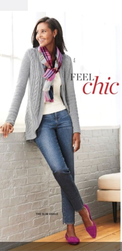 Talbots Fall 2016. Loving this basic sweater style and accent pops of color/shoes an scarf.  Fun.