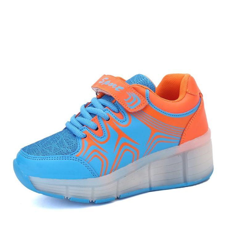 Blau Leuchtende Schuhe Die Rollen Atmungsaktiv Kinder Mädchen