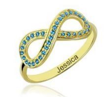 Birthstone Infinity Personalised Ring - gold plated, engraved with name