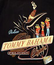 Tommy bahama пеликан сигар шелковыми вышитыми черная гавайская рубашка размер большой l