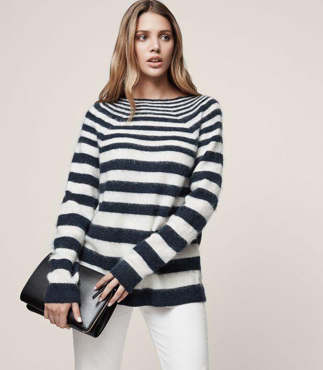 Esha White Striped High-Neck Knit - REISS