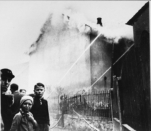 On the morning after Kristallnacht, local residents watched as fire destroyed the synagogue in the village of Ober-Ramstadt. The local fire department prevented the fire from spreading to a nearby home, but as what happened all across Germany, did not try to limit the damage to the synagogue.