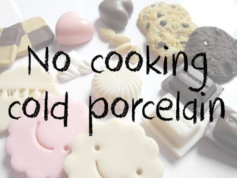 No cooking Cold Porcelain tutorial - YouTube   Recipe: 1-1/4 cups corn starch, 8 ounces generic school glue, 2 tbsp baby oil and 2 tbsp lemon juice.