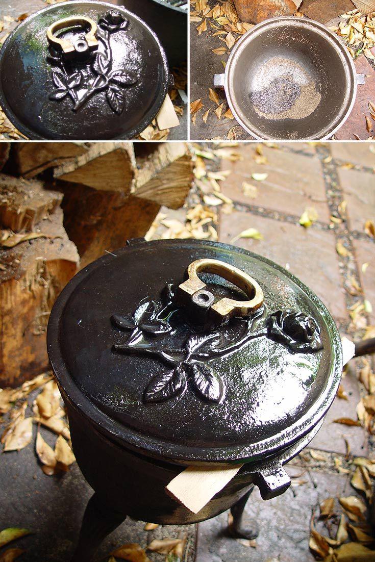 Konserwacja kociołka żeliwnego. Cauldron, hotpot, kettle, iron kettle