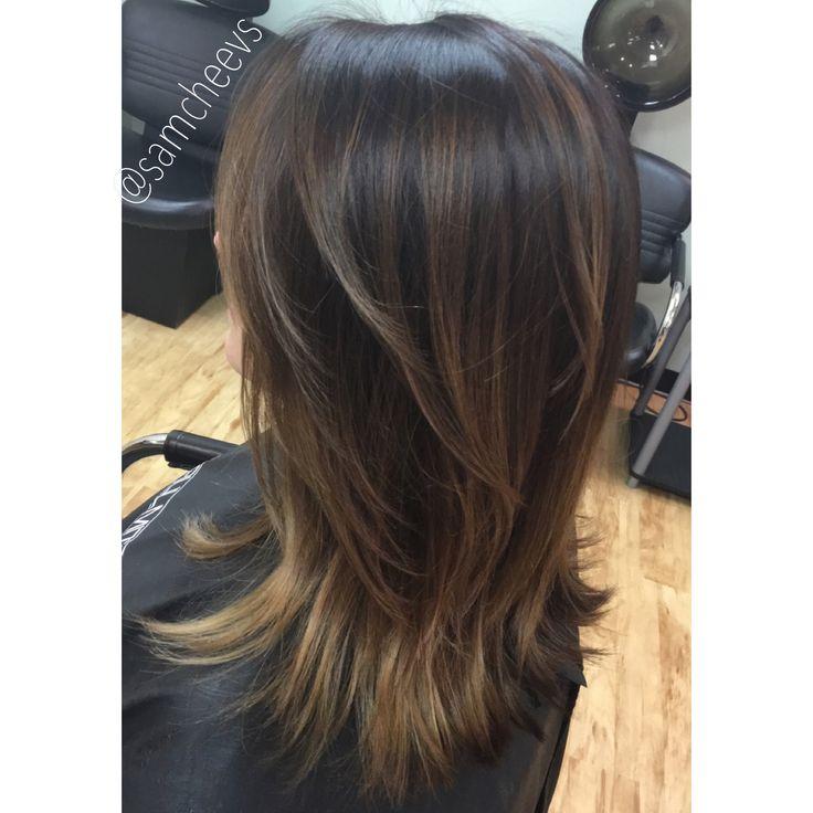 Medium short length hair cut with layers . Balayage ombré hair color on brown hair. Light brown low lights