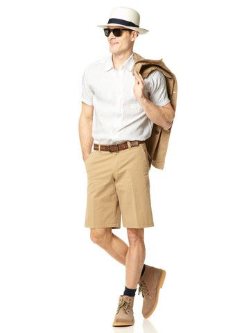 Mens Cotton Khaki Shorts | Mens Travel Clothing | Gerald Webster