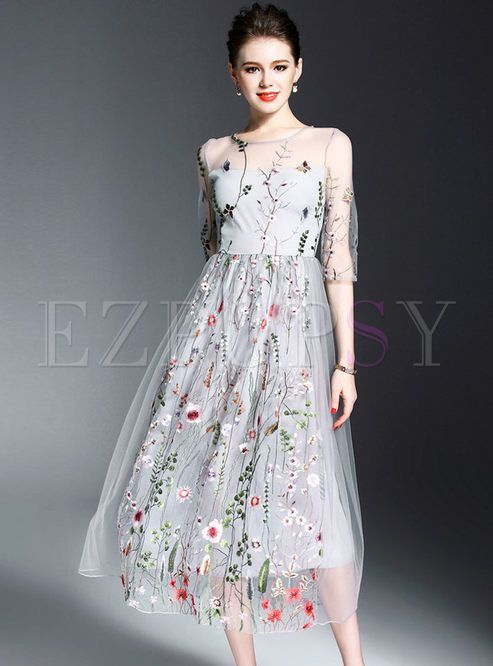 Shop for high quality Sexy Embroidery Half Sleeve Maxi Dress online at cheap prices and discover fashion at Ezpopsy.com