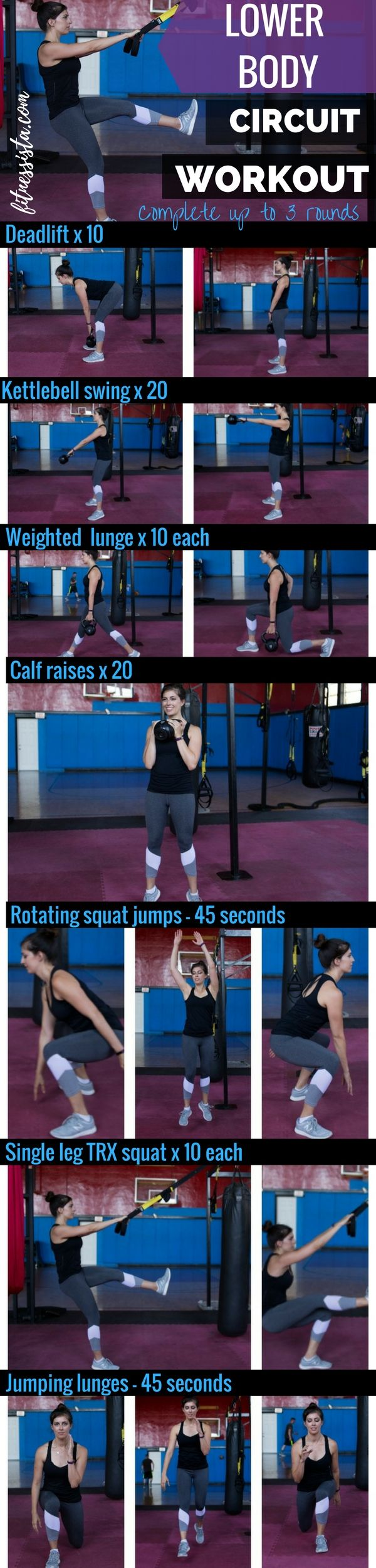 Lower body circuit workout. A great way to burn a ton of calories and build lean, strong legs. fitnessista.com