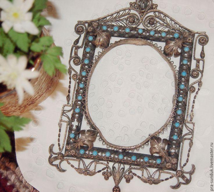 Старинная ажурная, подвесная РАМКА  для овальной фотографии с филигранью и вставками из стекла. Мавританский стиль. Франция Начало ХХ века.