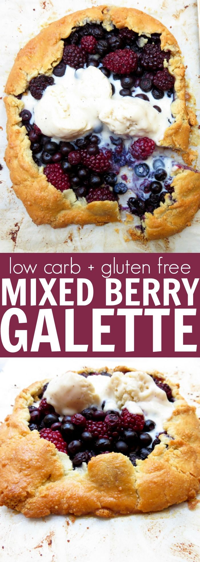 Really fun and summery low carb + gluten free mixed Barry Galette! I love how easy and laid back this is! Throw a scoop of ice cream on top and enjoy!! thetoastedpinenut.com
