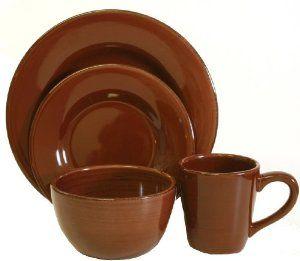 brown dinnerware set