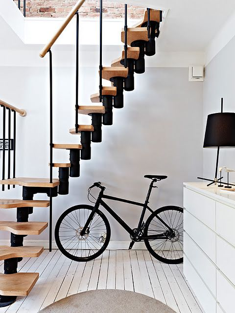 : Spaces, Living Rooms, Stairs, Bike, Home Interiors, Wood, Scandinavian Interiors, Black White, Design Home