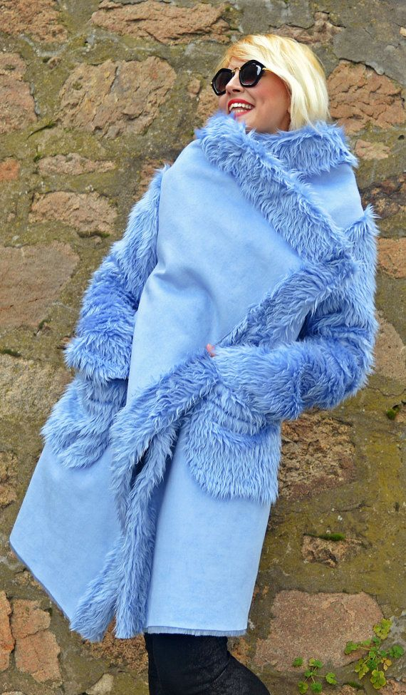 Light Blue Faux Sheepskin Coat / Extravagant Light Blue by Teyxo
