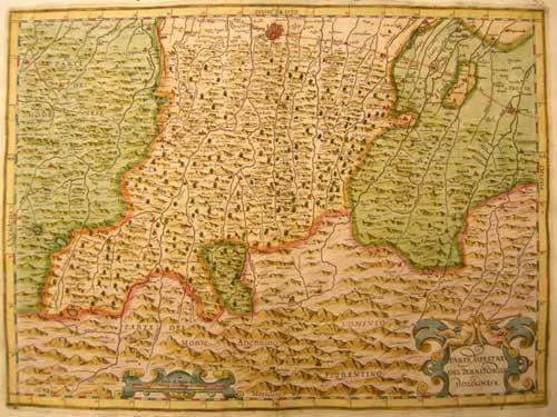 """GIOVANNI ANTONIO MAGINI (1555 - 1617)  """"Parte Alpestre del Territorio Bolognese""""  Dall'opera: """"Italia di Gio: Ant. Magini"""", Bologna, 1620"""