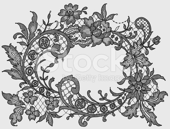 Black Lace. Romantic Frame. Floral Pattern. royalty-free stock vector art