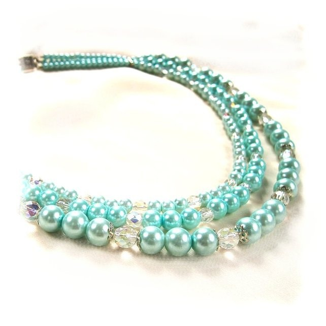 Aqua Three-strand Glass Pearl Necklace £12.00