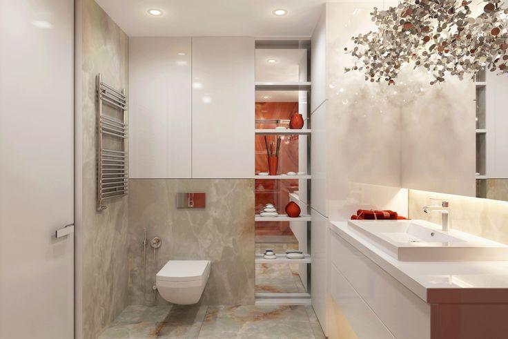 Шикарный арт-деко в этом интерьере обладает превосходными функциональными характеристиками. Ванная комната натуральная мраморная плитка с уникальным дизайнерским светильником над раковиной. Данный светильник - это авторская работа дизайнера Динары Юсуповой - руководителя студии U-Style.