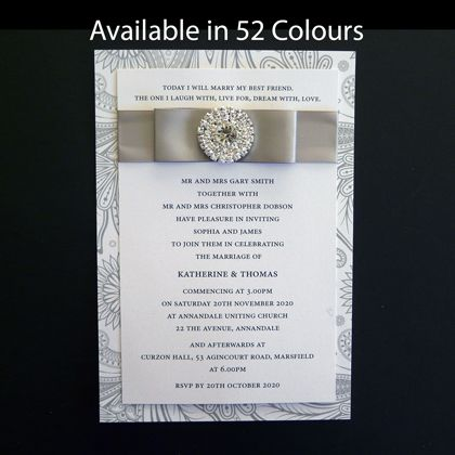 These layered wedding invitations have a diamante cluster and ribbon on the front. They can be decorated in other ways and we welcome your ideas. Available in more than 50 colours.www.kardella.com