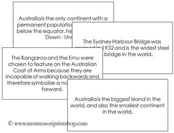 Australia Fun Facts: Fun facts about Australia that children will enjoy learning. A great addition to an Australia Continent Study.  Includes 30 Fun Facts Cards