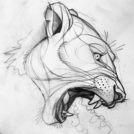 Эскиз татуировки рычащей львицы