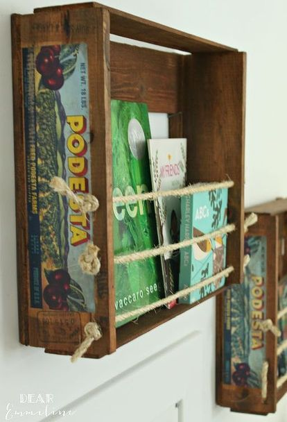 how to turn a fruit crate into bookshelves, diy, repurposing upcycling, shelving ideas, storage ideas