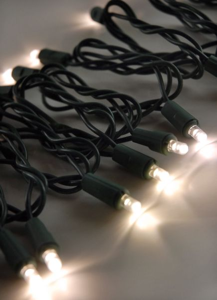 LED String Lights 60CT Warm White Green Cord 16.5ft, End to End, Up to 42 Strings, Outdoor ...