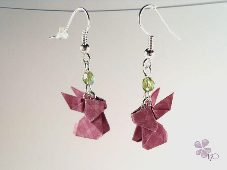 Boucles d'oreilles Origami Lapins vichy violet : Boucles d'oreille par violetteetpaillettes