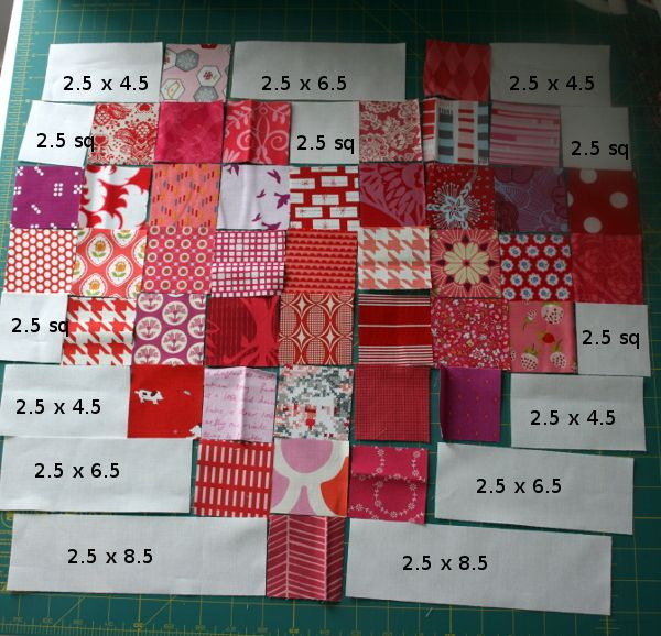 Exactly 42 squares in this heart! 1 pack Moda Candy