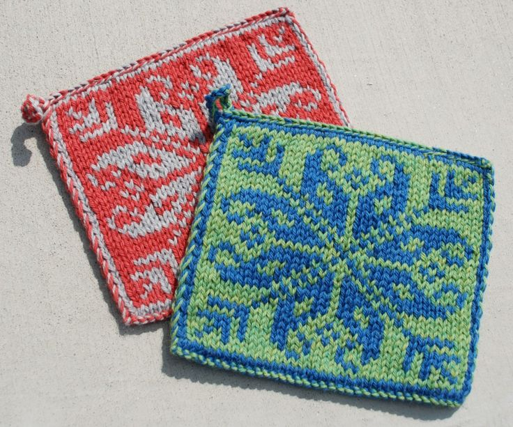 Love these reversible doubleknit hotpads!! FREE pattern - a great way to learn doubleknitting and make a gift or two!!