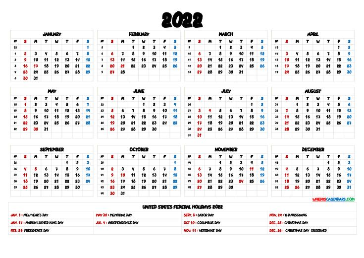 2022 Calendar with Holidays Printable - 6 Templates ...