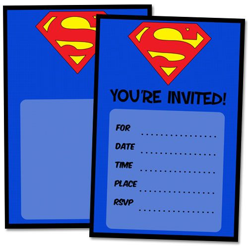 Free Printable Superman Birthday Invitations