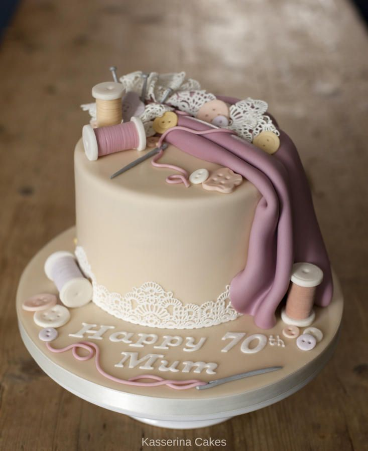 Sewing Birthday Cake For 70th Cake By Kasserina Cakes We All Love Burning Flowers Don T We You Don T Know Where To Decorate With These B In 2020 Geburtstagstorte